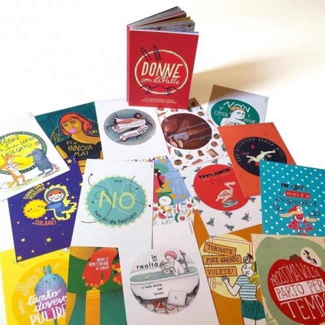 Donne con LePalle - notebook, raccolta rilegata di 48 cartoline illustrate