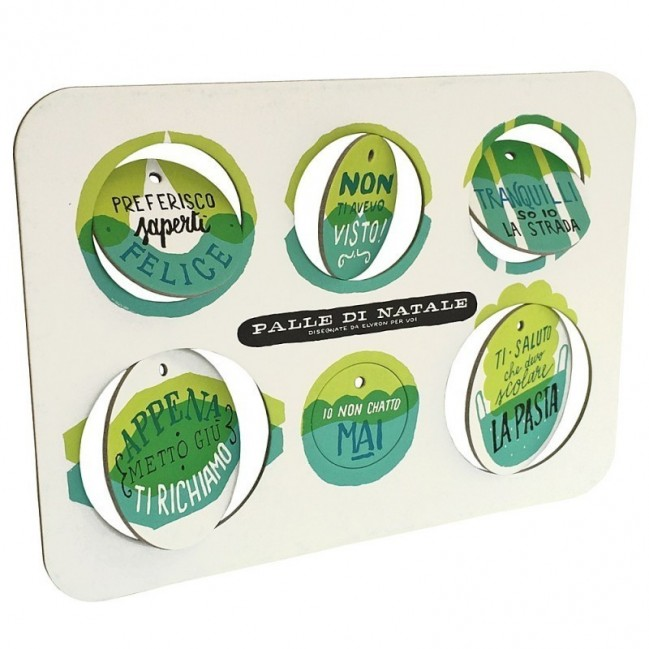 Palle di Natale - 5a edizione, set completo di 4 tavole per 24 dischi decorativi stampati su cartone riciclato
