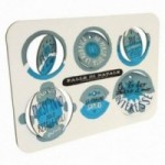 Palle di Natale - 5a edizione, Tavola 2 - sei dischi decorativi stampati su cartone riciclato
