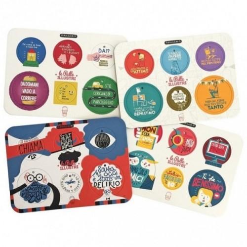 Palle ILLUSTRI - Set di 4 tavole per 24 dischi decorativi stampati su cartone riciclato