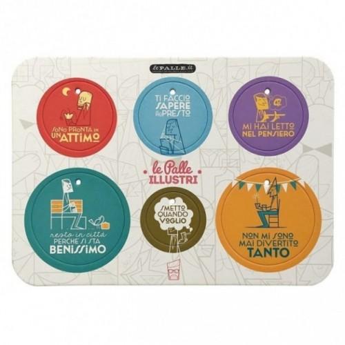 Palle ILLUSTRI - Planche illustrée par Ale Giorgini avec 6 disques décoratifs imprimés sur carton recyclé