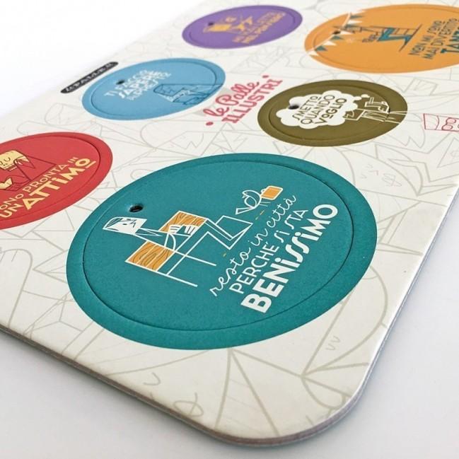 Palle ILLUSTRI - Tavola illustrata da Ale Giorgini con 6 dischi decorativi stampati su cartone riciclato