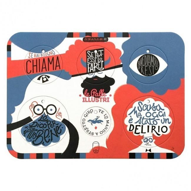 Palle ILLUSTRI - Planche illustrée par Simone Massoni avec 6 disques décoratifs imprimés sur carton recyclé