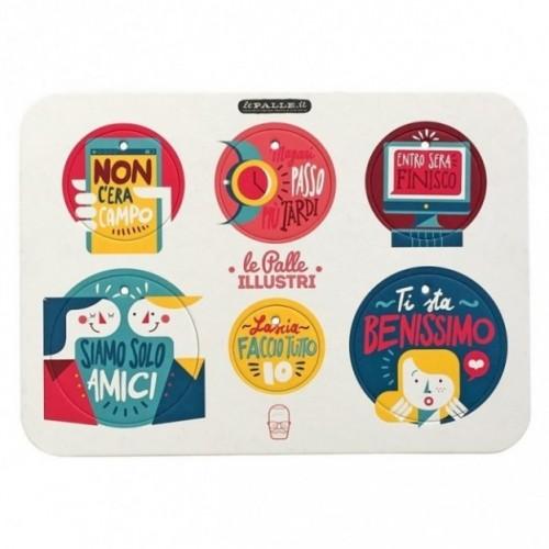 Palle ILLUSTRI - Planche illustrée par Francesco Poroli avec 6 disques décoratifs imprimés sur carton recyclé