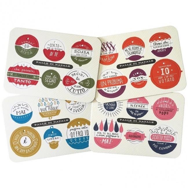 Palle di Natale-Boules de Noël-4ème édition, set complet de 4 planches avec 24 disques décoratifs imprimés sur carton recyclé