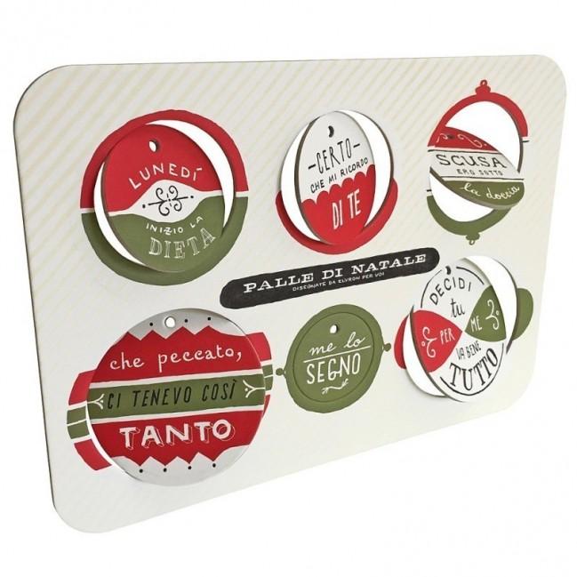 Palle di Natale - 4a edizione, Tavola 1 - sei dischi decorativi stampati su cartone riciclato