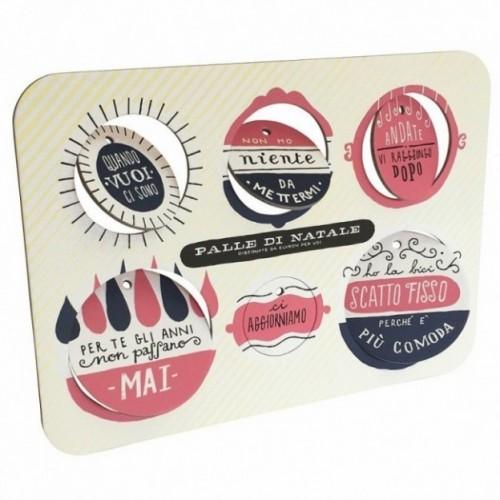 Palle di Natale - Boules de Noël - 4ème édition, Planche 4 – six disques décoratifs imprimés sur carton recyclé