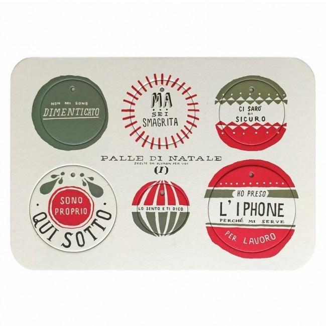 Palle di Natale - Boules de Noël - 2ème édition, Planche 1 – six disques décoratifs imprimés sur carton recyclé