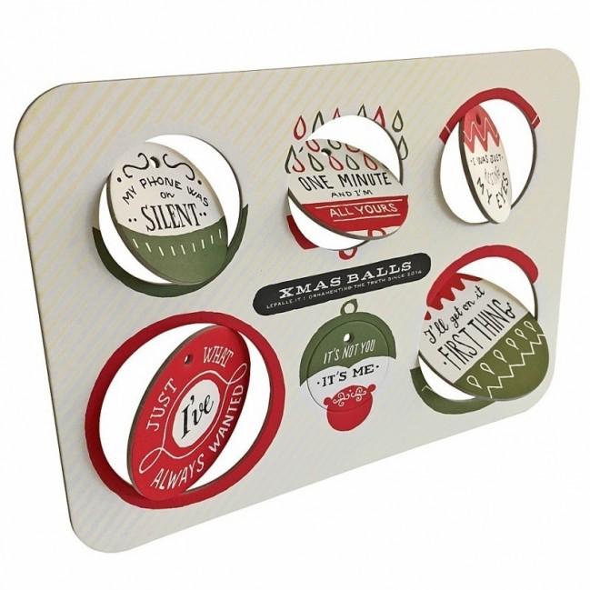 Xmas Balls - Tavola 1 - sei dischi decorativi stampati su cartone riciclato