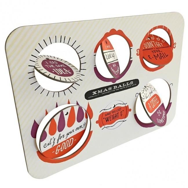 Ballsh*t - Planche 2 – six disques décoratifs imprimés sur carton recyclé