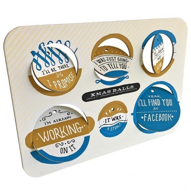 Ballsh*t - Planche 3 – six disques décoratifs imprimés sur carton recycléone riciclato