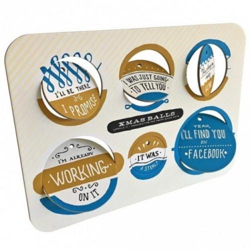 Xmas Balls - Tavola 3 - sei dischi decorativi stampati su cartone riciclato