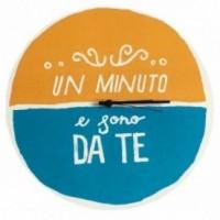 """Orologio da parete - """"un minuto e sono da te"""", stampato su cartone riciclato, diametro 32 cm con meccanismo silenzioso"""