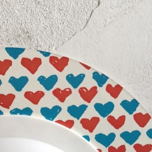 """Orologio da parete - """"ti penso sempre"""", stampato su cartone riciclato, diametro 32 cm con meccanismo silenzioso"""