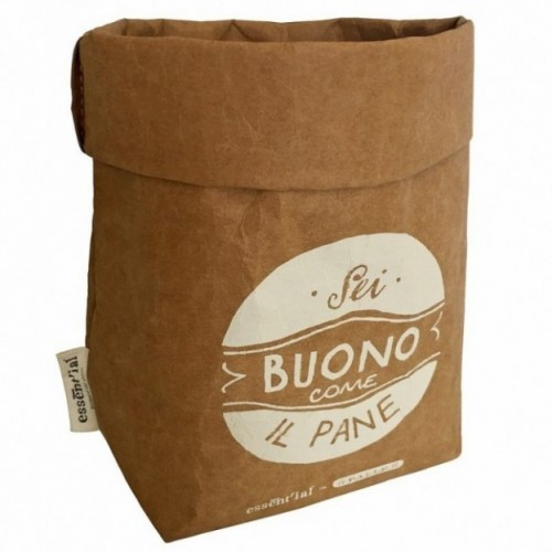 "Sachet multi-usages ""sei buono come il pane"" en fibre de cellulose couleur havane, lavable et réutilisable"