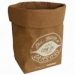 """Sacchino contenitore multiuso """"sei magro come un grissino"""" in fibra di cellulosa color avana, lavabile e riutilizzabile"""