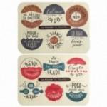 """""""Le Palle in tavola"""" - Set di 12 divertenti sottobicchieri colorati in fibra di cellulosa lavabile riutilizzabili"""