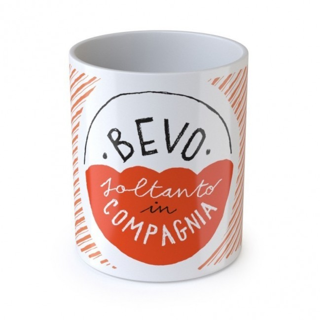 "Mug ""Bevo soltanto in compagnia"", tazza in ceramica"