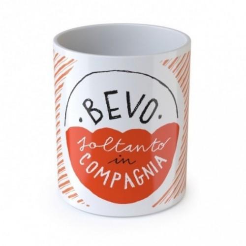 "Mug ""Bevo soltanto in compagnia"", tasse en céramique"