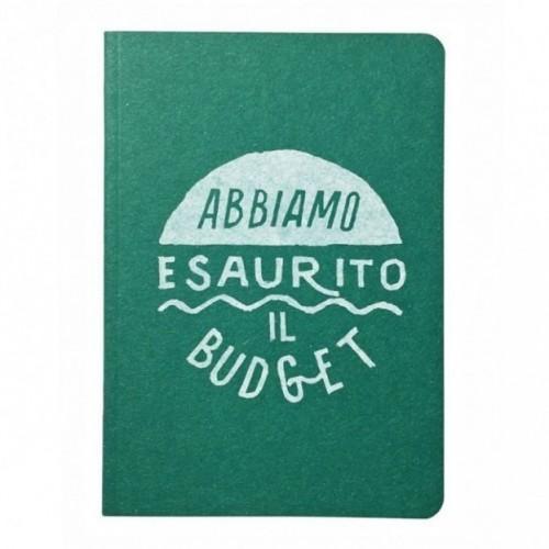"""Carnet """"Abbiamo esaurito il budget"""", couverture Verte émeraude et intérieur en papier noir."""