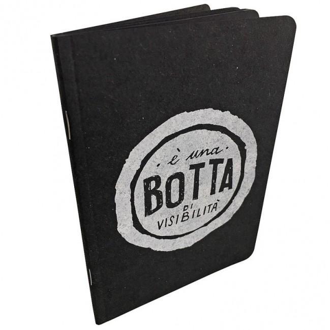 """Notes tascabile """"È una botta di visibilità"""", copertina nera e interno in carta colore nero"""
