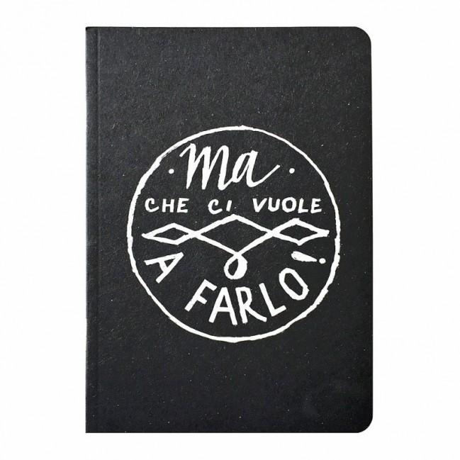 """Carnet """"Ma che ci vuole a farlo!"""", couverture noire et intérieur en papier noir."""