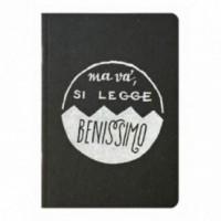 """Notes tascabile """"Ma va', si legge benissimo!"""", copertina nera e interno in carta colore nero"""