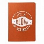"""Notes tascabile """"It's a blow of visibility"""", copertina arancione e interno in carta colore nero"""