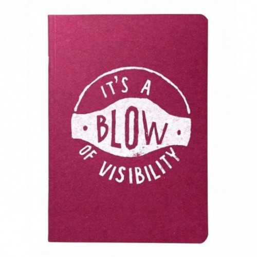 "Notes tascabile ""It's a blow of visibility"", copertina fucsia e interno in carta colore nero"