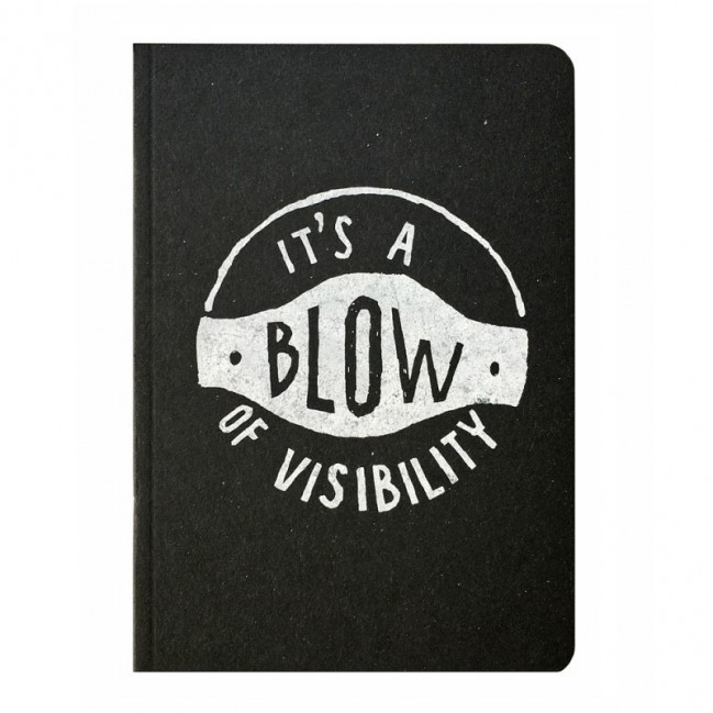 "Notes tascabile ""It's a blow of visibility"", copertina nera e interno in carta colore nero"