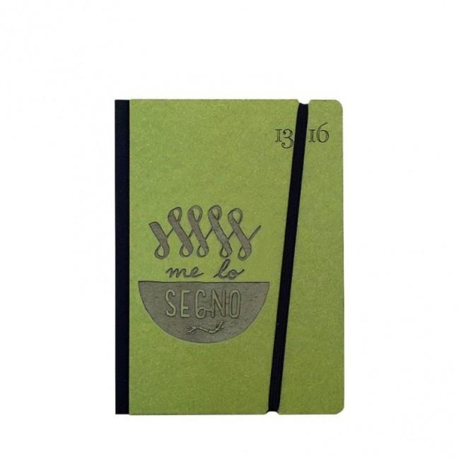 """Taccuino """"Me lo segno"""" copertina rigida VERDE in cartone naturale, formato SMALL tascabile 11x15 cm"""