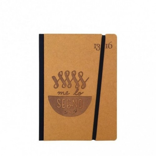 "Carnet ""Me lo segno"" couverture rigide jaune ocre en carton naturel, format de poche - SMALL 11x15 cm"