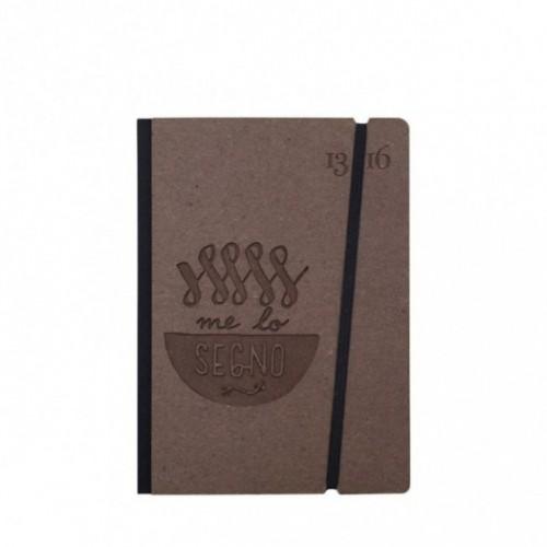 "Carnet ""Me lo segno"" couverture rigide café en carton naturel, format de poche - SMALL 11x15 cm"