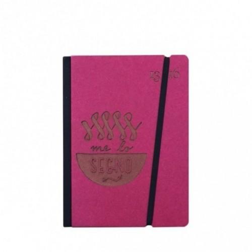"""Taccuino """"Me lo segno"""" copertina rigida FUCSIA in cartone naturale, formato SMALL tascabile 11x15 cm"""