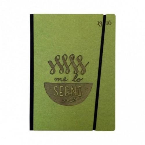 """Carnet """"Me lo segno"""" couverture rigide VERTE en carton naturel, format LARGE 16x21,7 cm"""