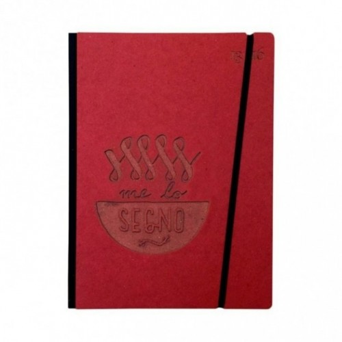 "Carnet ""Me lo segno"" couverture rigide rouge en carton naturel, format LARGE 16x21,7 cm"