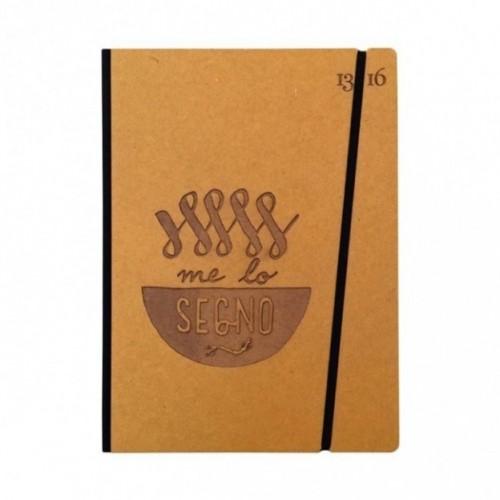 """Carnet """"Me lo segno"""" couverture rigide jaune ocre en carton naturel, format LARGE 16x21,7 cm"""