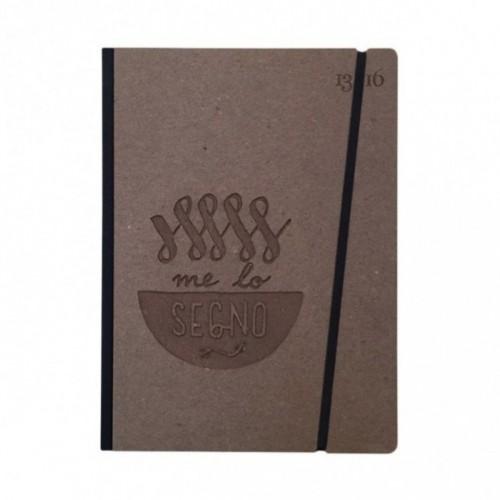 """Taccuino """"Me lo segno"""" copertina rigida CAFFÈ in cartone naturale, formato LARGE 16x21,7 cm"""