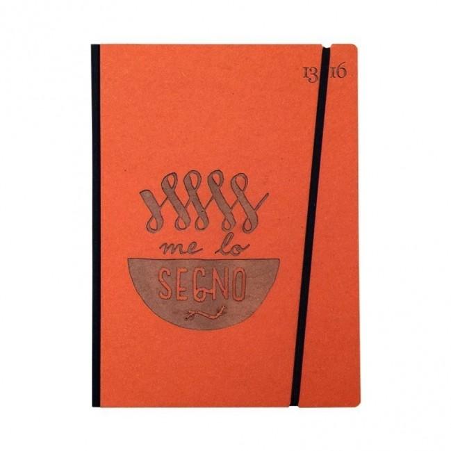 """Taccuino """"Me lo segno"""" copertina rigida ARANCIONE in cartone naturale, formato LARGE 16x21,7 cm"""