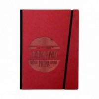 """Carnet """"Lo faccio domani come prima cosa"""" couverture rigide rouge en carton naturel, format LARGE 16x21,7 cm"""