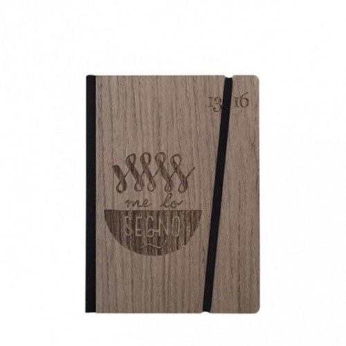 """Taccuino """"Me lo segno"""", copertina rigida in legno palissandro, SMALL tascabile formato 11x15 cm"""