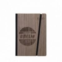 """Taccuino """"Lo faccio domani come prima cosa"""", copertina rigida in legno palissandro, SMALL tascabile formato 11x15 cm"""