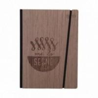 """Taccuino """"Me lo segno"""", copertina rigida in legno essenza palissandro, formato LARGE 16x21,7 cm"""