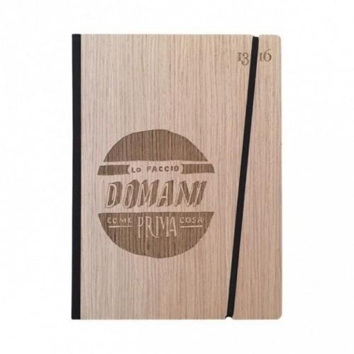 """Taccuino """"Lo faccio domani come prima cosa"""", copertina rigida in legno essenza frassino, formato LARGE 16x21,7 cm"""