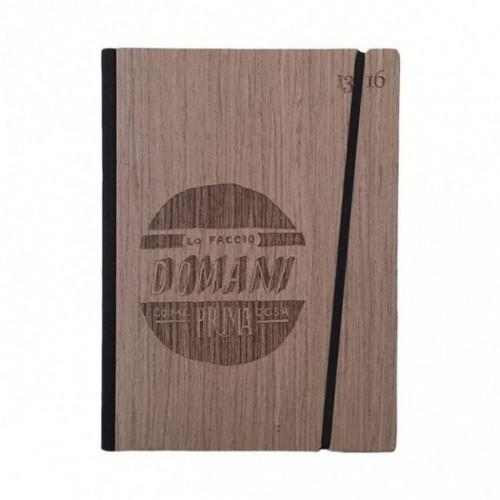 "Carnet ""Lo faccio domani come prima cosa"" Couverture rigide en bois de palissandre, format LARGE 16x21,7 cm"
