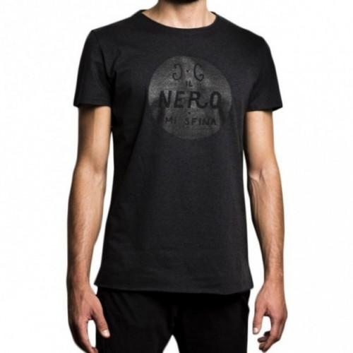 """T-shirt uomo """"il nero mi sfina"""" 100% cotone color grigio antracite"""