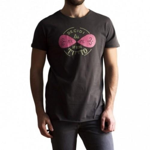 """T-shirt uomo """"decidi tu, per me va bene tutto"""" 100% cotone color grigio antracite"""