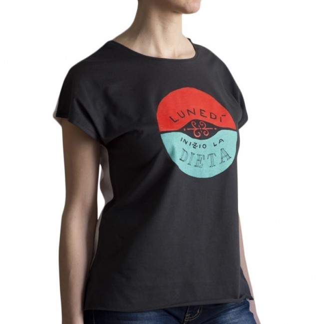 """T-shirt donna """"lunedì inizio la dieta"""" 100% cotone color bianco e grigio antracite"""
