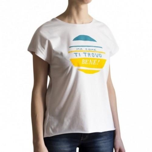 "T-shirt femme ""ma come ti trovo bene!"" 100% coton coloris blanc"