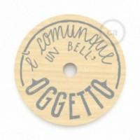 """Le Palle Volanti. Abat-jour circulaire en bois imprimé des deux cotés - """"E' comunque un bell'oggetto"""" + pattern Trippy"""